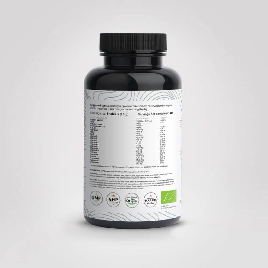 bio spirulina - BIO spirulina tablets BIYOMA back